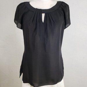 WHBM Sheer Black Silk Scoop Neck Blouse, Small, EU